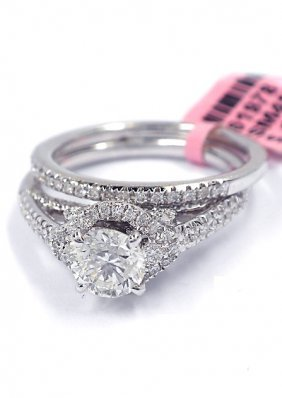 18KT White Gold 1.19tcw Diamond Wedding Ring Set FJM167