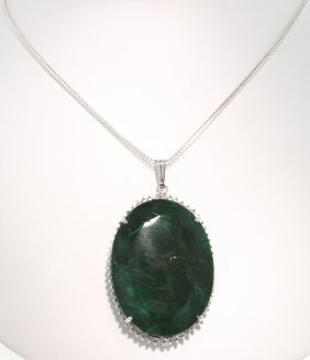 SILVER 166.18ct Emerald And White Sapphire Pendant And