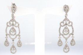14KT White Gold 1.51ct Diamond Dangle Earrings FJM1429