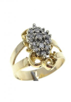 10KT Yellow Gold Diamond Cluster Ring 0.30ct A2375