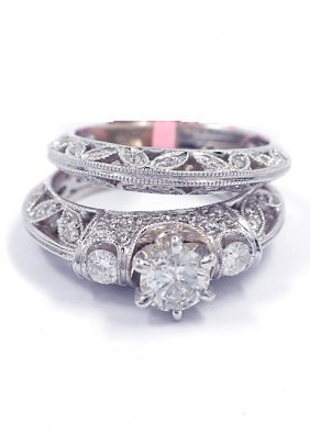 18KT White Gold 1.16tcw Diamond Wedding Ring Set FJM167