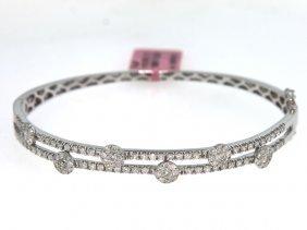 18KT White Gold 1.71ct Diamond Bangle Bracelet FJM1565