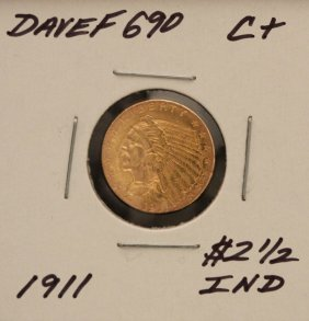 1911 $2 1/2 C+ Indian Head Quarter Eagle Gold Coin Dave