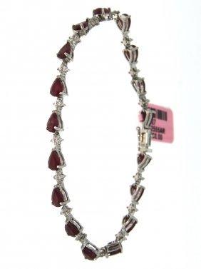 14KT White Gold 9.00ct Ruby & Diamond Bracelet FJM1580