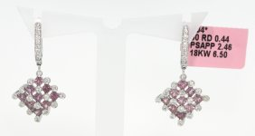 18KT White Gold 2.46ct Pink Sapphire And Diamond Drop E