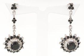14KT White Gold 6.47ct Black And White Diamond Earrings