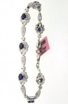 14KT White Gold 2.89ct Sapphire & Diamond Bracelet FJM1