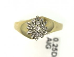 14KT Yellow Gold Diamond Cluster Ring RM452