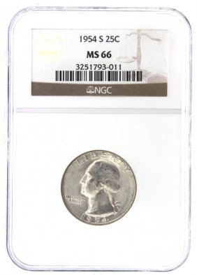 1954-S 25 Cent NGC MS66 Silver Coin DAVEF861