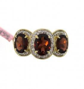 14KT Yellow Gold 3.57ct Garnet & Diamond Ring FJM1597
