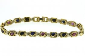 18KT Yellow Gold 5.35ct Ruby & Sapphire Bracelet STN2
