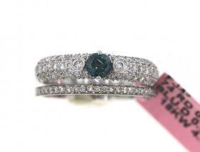 18KT White Gold 1.00tcw Blue & White Diamond Ring Set F
