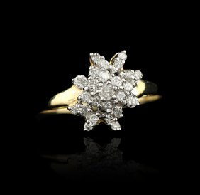 14K White Gold .25 Diamond Cluster Ring GB272