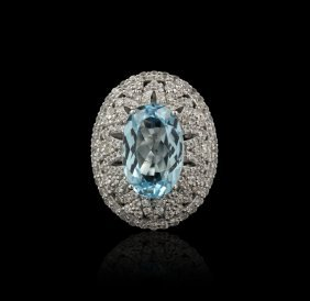 SILVER 14.79ct Blue Topaz And White Sapphire Ring RM915