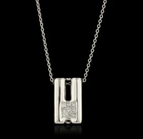 14KT White Gold 0.10ctw Diamond Pendant With Chain GB10