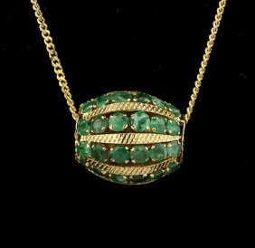 14KT Yellow Gold 1.00ctw Emerald Barrel Pendant With Ch