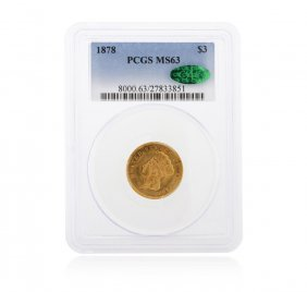 1878 Pcgs Ms63 $3 Indian Princess Head Gold Coin
