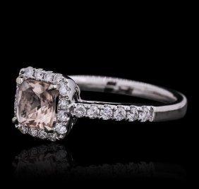 14kt White Gold 0.90ct Morganite And Diamond Ring