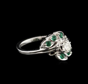 0.40ct Diamond And Emerald Ring - 14kt White Gold