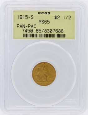 1915-s Pcgs Ms65 $2.50 Panama Pacific Exposition Gold