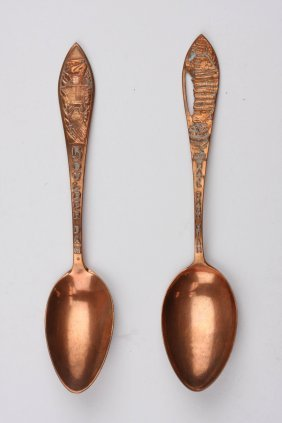 Vintage Solid Copper Souvenir Spoons
