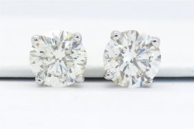 Gia Certified 2.11ctw Diamond Stud Earrings - 14k White