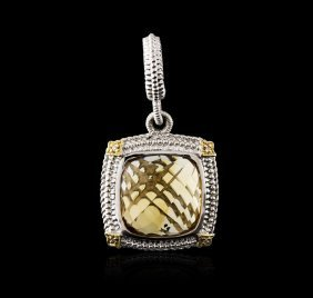 Sterling Silver 11.40ct Citrine And Diamond Pendant