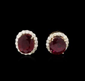 12.36ctw Ruby And Diamond Earrings - 14kt Yellow Gold