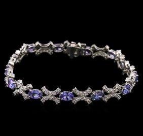 5.07ctw Tanzanite And Diamond Bracelet - 14kt White