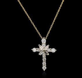 10kt Yellow Gold 0.50ctw Diamond Cross Pendant With