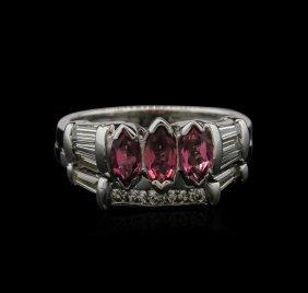 1.00ctw Pink Tourmaline And Diamond Ring - 14kt White