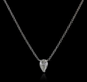 14kt White Gold 0.38ct Diamond Solitaire Necklace