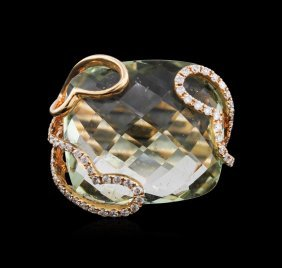 18.10ct Peridot And Diamond Ring - 14kt Rose Gold