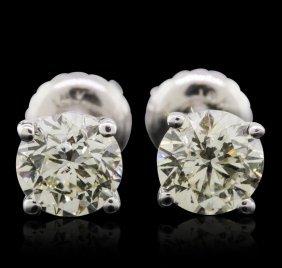 14KT White Gold 1.31ctw Diamond Solitaire Earrings