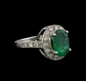 2.93ct Emerald And Diamond Ring - 14kt White Gold