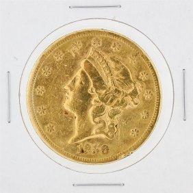 1858-s $20 Vf Liberty Head Double Eagle Gold Coin
