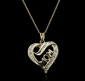 10kt Yellow Gold 0.30ctw Diamond Heart Pendant With