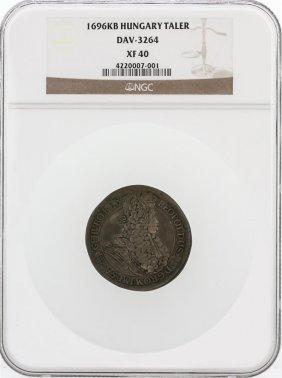 1696-kb Ngc Xf40 Hungary Taler Dav-3264 Coin