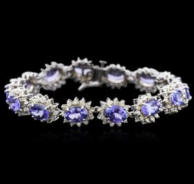 14kt White Gold 16.45ctw Tanzanite And Diamond Bracelet