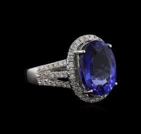 7.75ct Tanzanite And Diamond Ring - 18kt White Gold