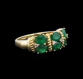 14kt Yellow Gold 2.12ctw Emerald And Diamond Ring