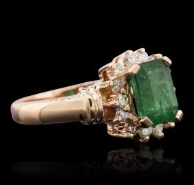 14kt Rose Gold 1.51ct Emerald And Diamond Ring