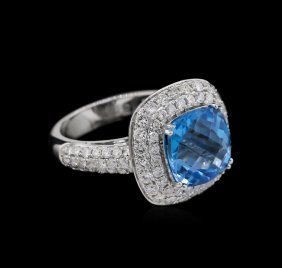 5.46ct Blue Topaz And Diamond Ring - 14kt White Gold