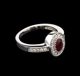 0.85ct Ruby And Diamond Ring - 14kt White Gold