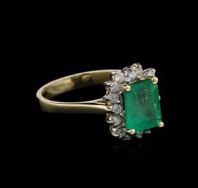 1.85ct Emerald And Diamond Ring - 14kt White Gold