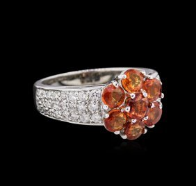 2.46ctw Orange Sapphires And Diamond Ring - `14kt White