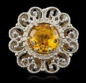 14kt White Gold 3.40ct Citrine & Diamond Ring