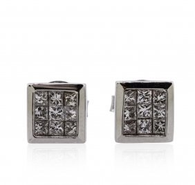 14kt White Gold 0.69ctw Diamond Earrings