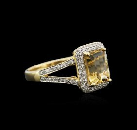 14kt Yellow Gold 2.12ct Citrine And Diamond Ring