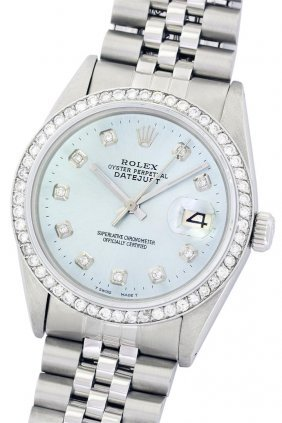 Rolex Stainless Steel 1.00ctw Diamond Datejust Men's
